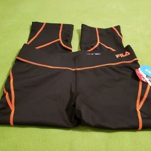 Fila Black/Orange Wide Band Capri w/ Pocket